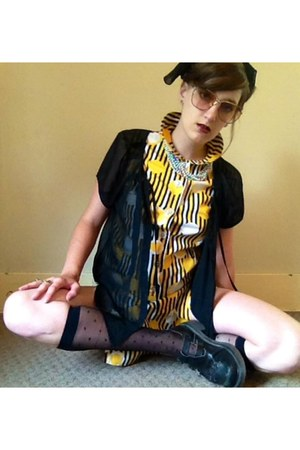 black Dr Martens boots - yellow vintage romper - black Old Navy blouse