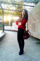 crimson Stradivarius sweater - black Bershka shoes - tawny scarf