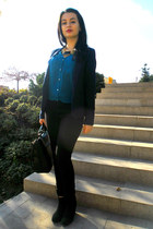 pull&bear blazer - Bershka boots - Zara bag - Stradivarius pants - H&M blouse