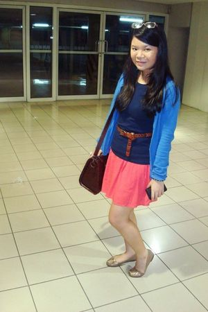 blue Zara cardigan - blue from Divisoria t-shirt - brown from Italy belt - Forev