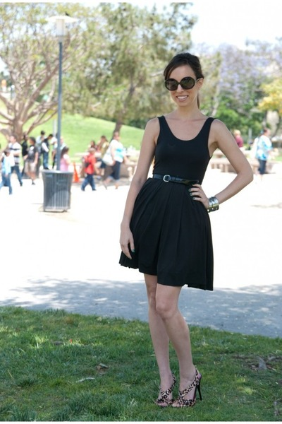 black H&M dress - black Karl Lagerfeld sunglasses - black Target belt - silver L