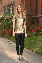 gold Merci Beaucoup sweater - black Zara leggings - silver DV Dolce Vita loafers