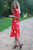 red vintage dress - brown Bandolino sandals