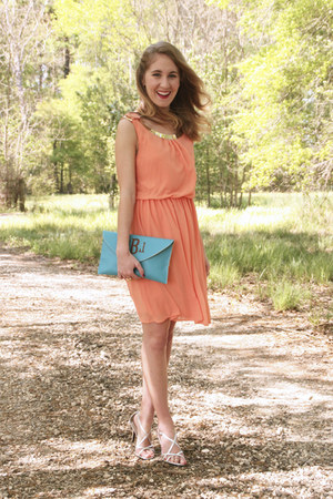 salmon Merci Beaucoup dress - turquoise blue Two Funny Girls purse