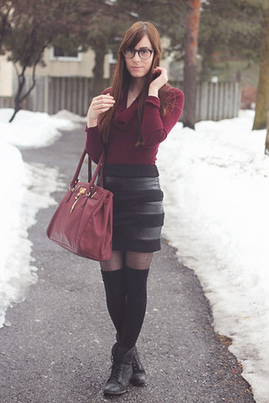black leather panel Forever 21 skirt - ruby red Smart Set sweater