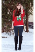 red cat vintage sweater - black over-the-knee Ardene boots