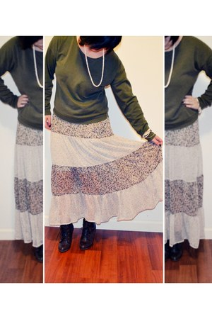 light pink Marshalls skirt - green Forever21 sweater