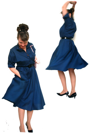 navy cotton American Shirt Dress dress - black fake patent DexterPayless heels