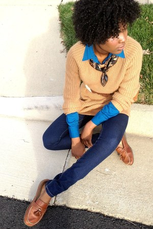 brown moccassins loafers - blue skinny jeans Forever21 jeans