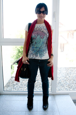Zara boots - Dr Denim jeans - banana republic scarf - YSL bag - design by humans