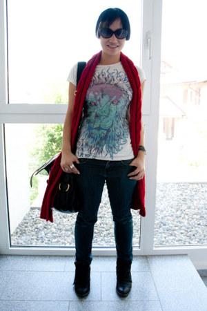 Zara boots - Dr Denim jeans - banana republic scarf - YSL bag - design by humans