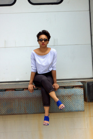 blue suede Zara sandals - American Apparel shirt - H&M pants