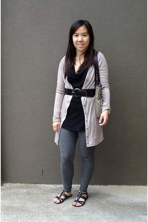 pink Kookai cardigan - black Bebe top - gray Uniqlo leggings - black belt - blac