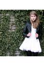 White-marlyn-monroe-jones-and-jones-dress-black-leather-h-m-jacket