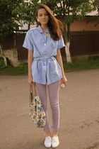 sky blue MIEL top - white lace shoes - light purple Primark jeans