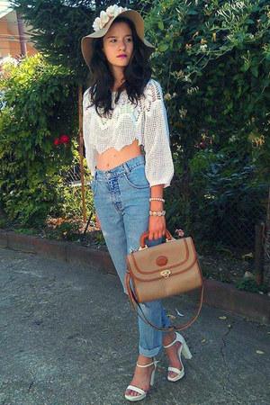 camel H&M hat - white Zara sandals