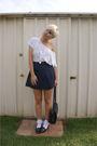White-shirt-white-socks-blue-skirt-blue-shoes