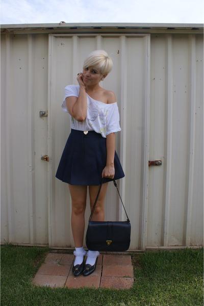 white shirt - white socks - blue skirt - blue shoes