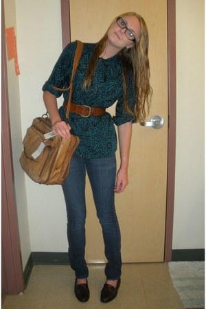 navy hollister jeans - tawny vintage bag - crimson vintage loafers - tawny vinta