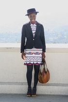 vintage dress - asos hat - Evan Picone blazer - vintage bag - J Crew wedges
