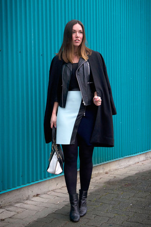 light blue neoprene Club Monaco skirt - black menswear OAK  FORT coat