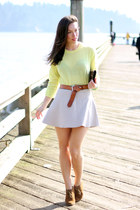 ivory circle Club Monaco skirt - light yellow Joe Fresh sweater