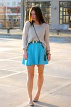 teal leather Rebecca Minkoff bag - sky blue Foster Bay dress