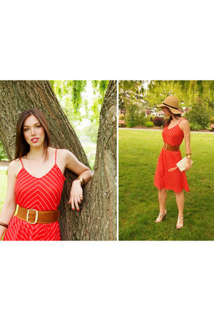 red vintage dress - brown H&M belt - white vintage shoes - yellow Urban Outfitte