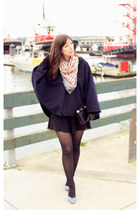 navy stylepiques cape - black BCBG bag - periwinkle Shoppalu heels