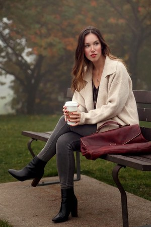 maroon suitcase ROOTS bag - eggshell slouchy free people coat