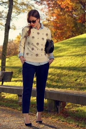 navy trousers Aritzia pants - eggshell embellished JCrew sweater