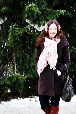 dark brown wilfred coat - light pink H&M scarf - light brown H&M accessories - n