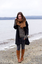 black striped Forever 21 shirt - brown riding boots Sole Society boots