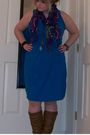 Blue-dress-brown-boots-purple-old-navy-scarf