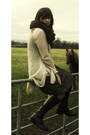 Brown-aldo-boots-brown-h-m-scarf-brown-kookai-skirt-white-kookai-cardigan-