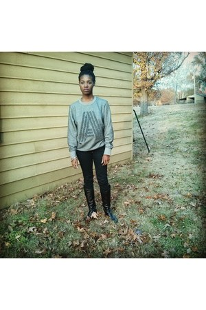 heather gray H&M sweater - black sam edelman boots - black H&M jeans