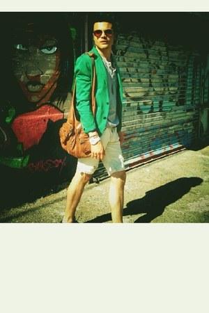 Zara blazer - Hudson shoes - donna hobo Alexander Wang bag - J Brand shorts