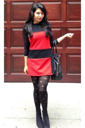 red BCBG dress - black H&M leggings - black H&M blouse