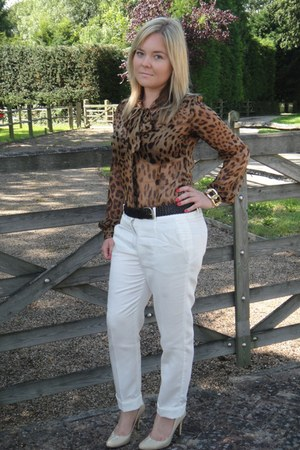 bardot shirt - Zara pants - Aldo heels - vintage belt