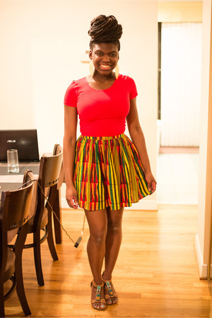 yellow American Apparel skirt - red crop American Apparel top