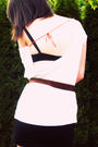 White-shirt-black-forever-21-skirt-green-bracelet-brown-belt-beige-shoes