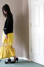 Yellow-dress-black-forever-21-cardigan-gold-purse-black-shoes