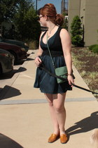bronze vintage wedges - navy Forever 21 dress - aquamarine modcloth purse