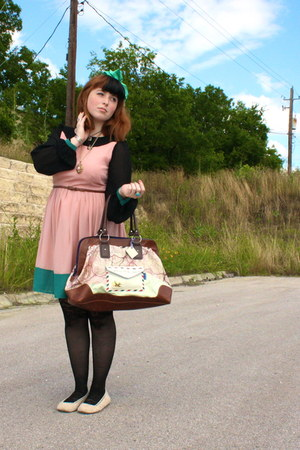 map print modcloth bag - lace Urban Outfitters tights - lace Target flats
