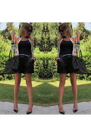 black Celine bag - Zara blazer - black Oasis shorts - black Manolo Bhlanik heels