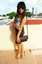 black Blessed saturday skirt - gold pull&bear bracelet - teal Zara top