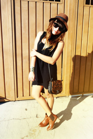 dark brown H&amp;M hat - tawny Zara boots - black pull&amp;bear dress