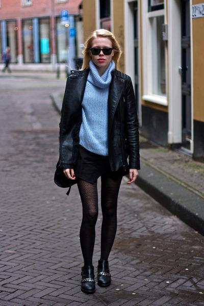 black Zara boots - black leather Zara jacket - periwinkle fluffy Zara sweater