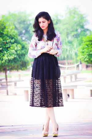 The TrimmingsAndLace Collection skirt - vintage shirt - Vero Moda heels
