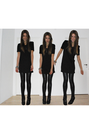 black Monki dress - black Monki leggings - black My favourites boots